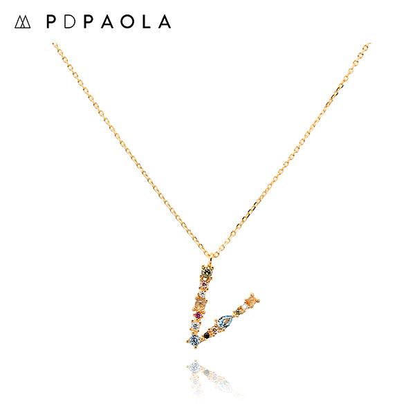 [피디파올라 PDPAOLA] CO01-117-U / LETTERS 컬렉션 이니셜 목걸이 V 옐로우골드 컬러 타임메카