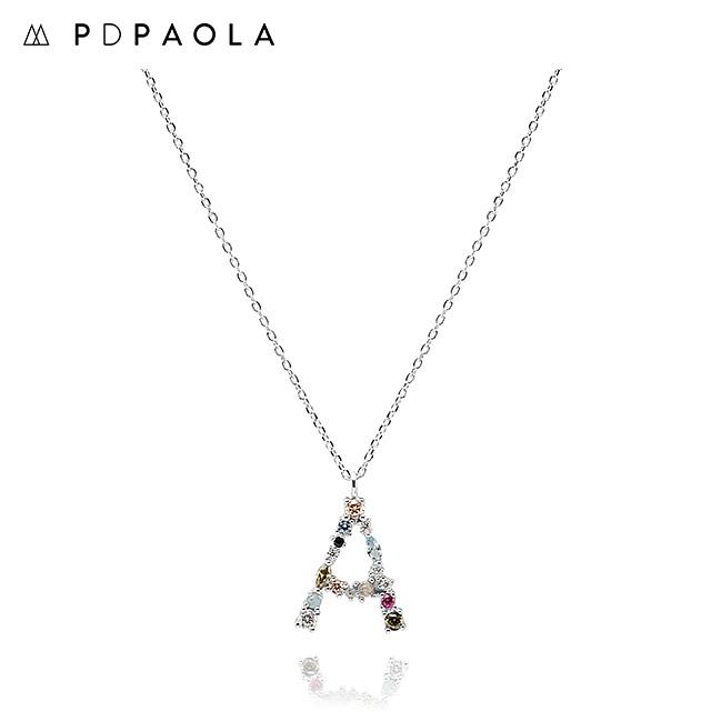 [피디파올라 PDPAOLA] CO02-096-U / LETTERS 컬렉션 이니셜 목걸이 A 화이트골드 컬러 타임메카