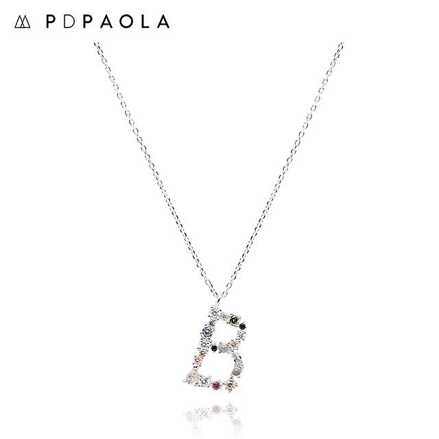 [피디파올라 PDPAOLA] CO02-097-U / LETTERS 컬렉션 이니셜 목걸이 B 화이트골드 컬러 타임메카