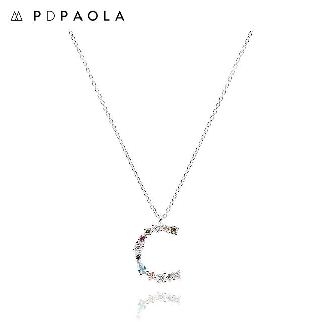 [피디파올라 PDPAOLA] CO02-098-U / LETTERS 컬렉션 이니셜 목걸이 C 화이트골드 컬러 타임메카