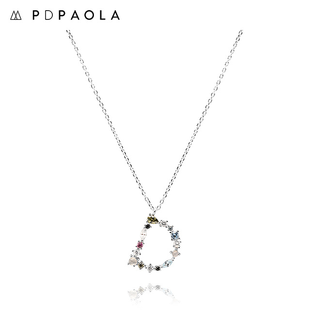 [피디파올라 PDPAOLA] CO02-099-U / LETTERS 컬렉션 이니셜 목걸이 D 화이트골드 컬러 타임메카