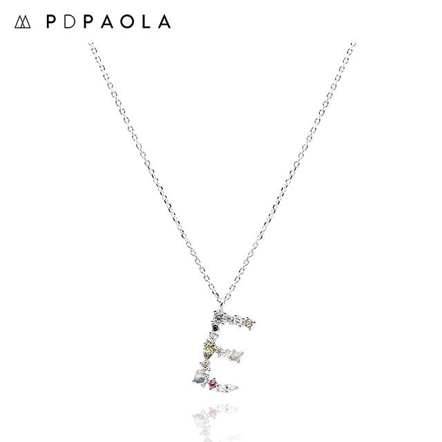 [피디파올라 PDPAOLA] CO02-100-U / LETTERS 컬렉션 이니셜 목걸이 E 화이트골드 컬러 타임메카