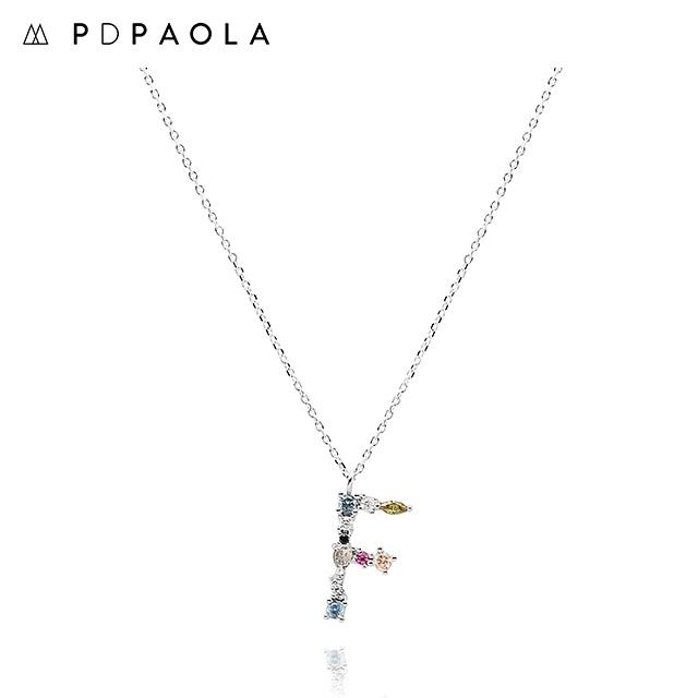 [피디파올라 PDPAOLA] CO02-101-U / LETTERS 컬렉션 이니셜 목걸이 F 화이트골드 컬러 타임메카