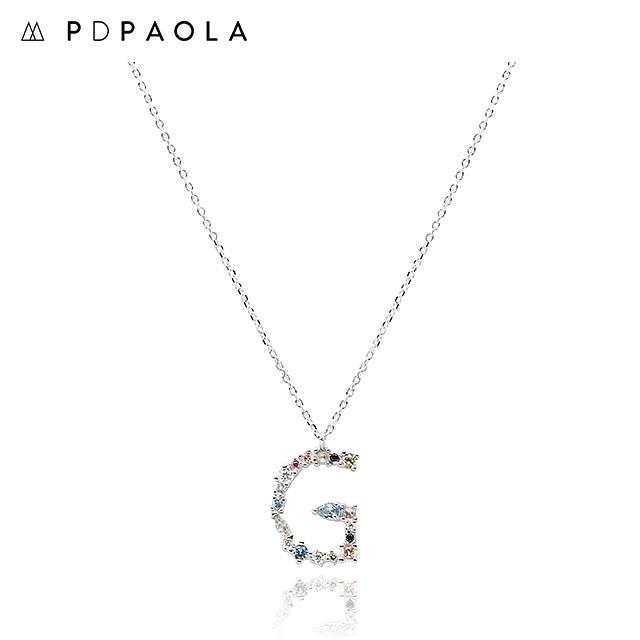 [피디파올라 PDPAOLA] CO02-102-U / LETTERS 컬렉션 이니셜 목걸이 G 화이트골드 컬러 타임메카