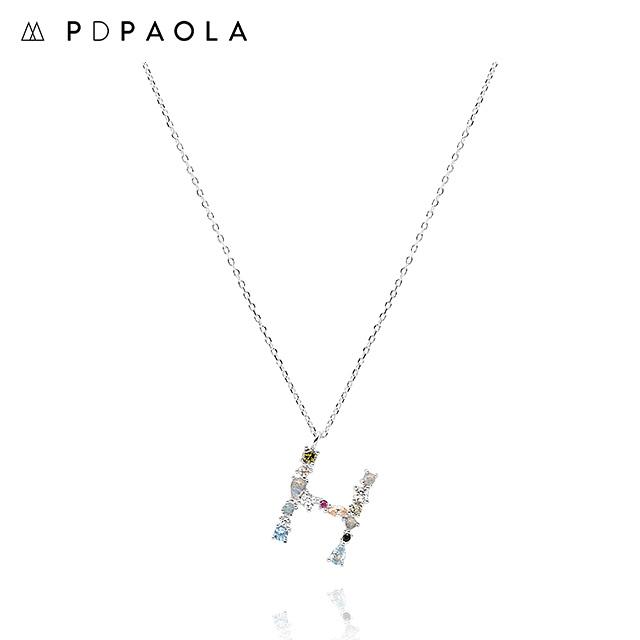 [피디파올라 PDPAOLA] CO02-103-U / LETTERS 컬렉션 이니셜 목걸이 H 화이트골드 컬러 타임메카