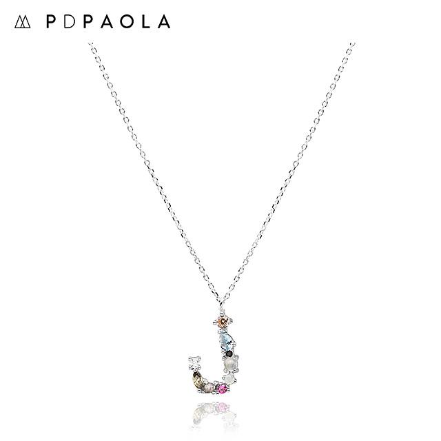 [피디파올라 PDPAOLA] CO02-105-U / LETTERS 컬렉션 이니셜 목걸이 J 화이트골드 컬러 타임메카