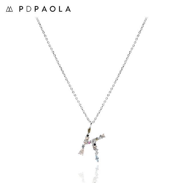 [피디파올라 PDPAOLA] CO02-106-U / LETTERS 컬렉션 이니셜 목걸이 K 화이트골드 컬러 타임메카