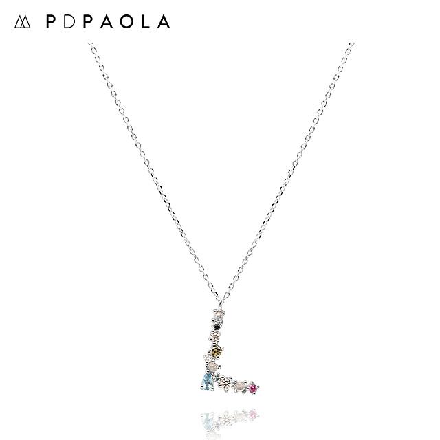 [피디파올라 PDPAOLA] CO02-107-U / LETTERS 컬렉션 이니셜 목걸이 L 화이트골드 컬러 타임메카