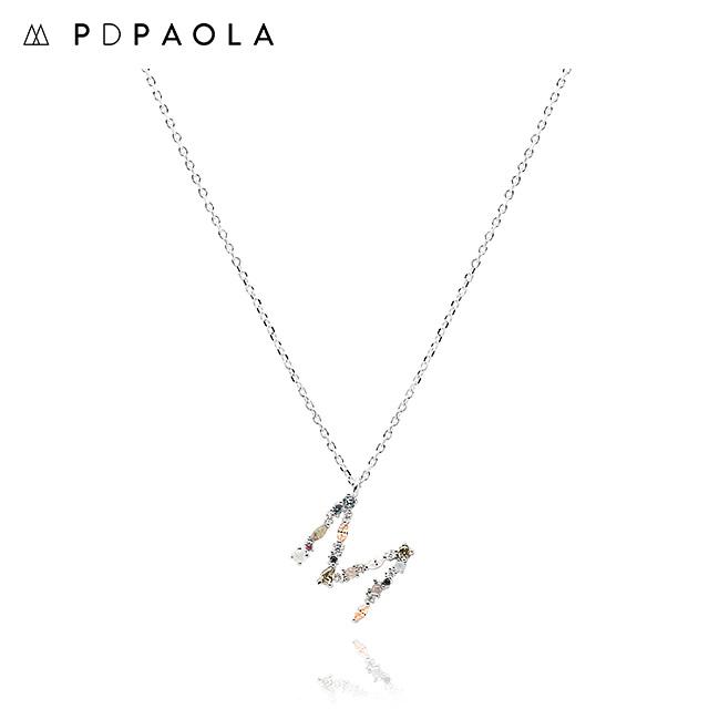[피디파올라 PDPAOLA] CO02-108-U / LETTERS 컬렉션 이니셜 목걸이 M 화이트골드 컬러 타임메카