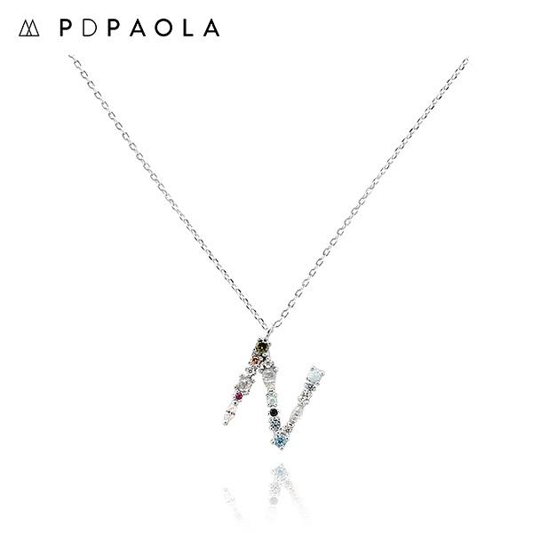 [피디파올라 PDPAOLA] CO02-109-U / LETTERS 컬렉션 이니셜 목걸이 N 화이트골드 컬러 타임메카