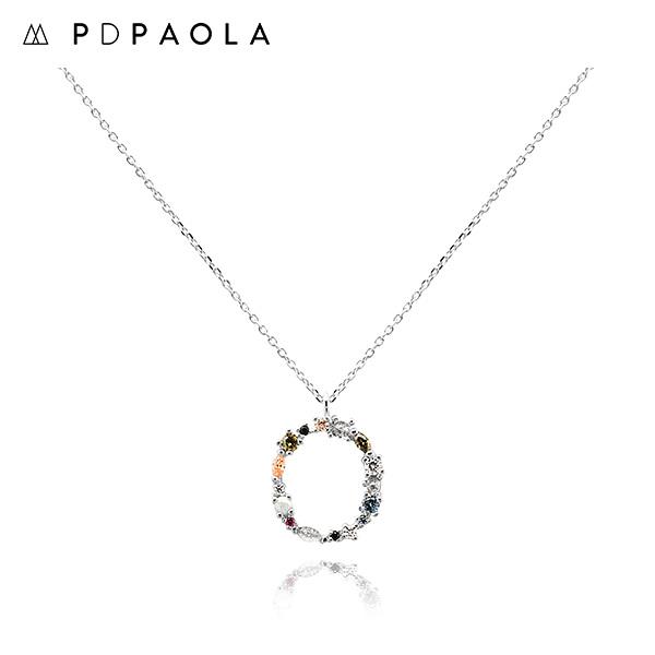 [피디파올라 PDPAOLA] CO02-110-U / LETTERS 컬렉션 이니셜 목걸이 O 화이트골드 컬러 타임메카
