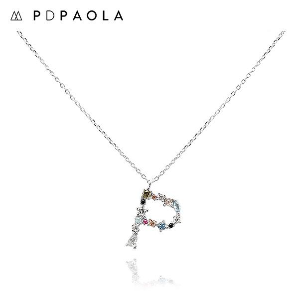 [피디파올라 PDPAOLA] CO02-111-U / LETTERS 컬렉션 이니셜 목걸이 P 화이트골드 컬러 타임메카