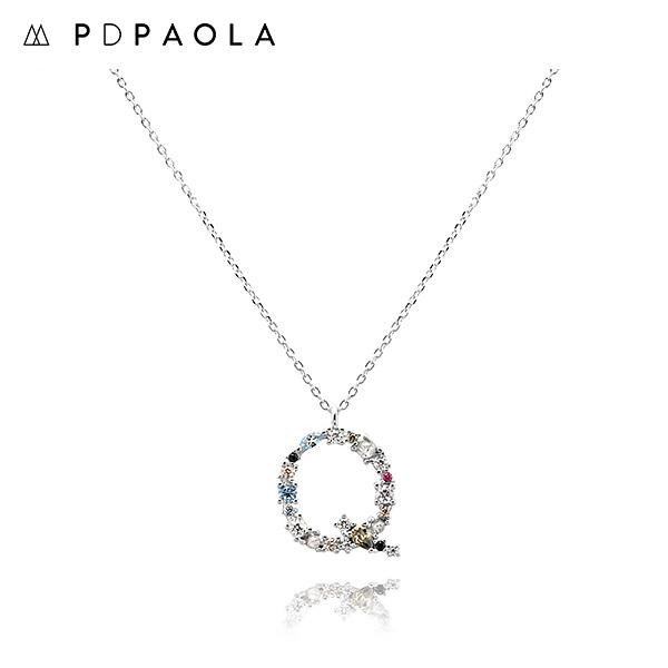 [피디파올라 PDPAOLA] CO02-112-U / LETTERS 컬렉션 이니셜 목걸이 Q 화이트골드 컬러 타임메카