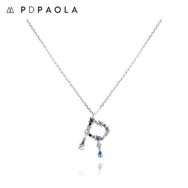 [피디파올라 PDPAOLA] CO02-113-U / LETTERS 컬렉션 이니셜 목걸이 R 화이트골드 컬러 타임메카