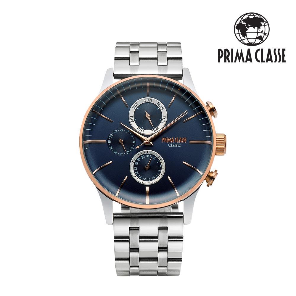 [프리마 클라쎄 PRIMA CLASSE] PCM19030M_BU 블루 남성용 가죽시계 42.5mmx50.5mm 타임메카