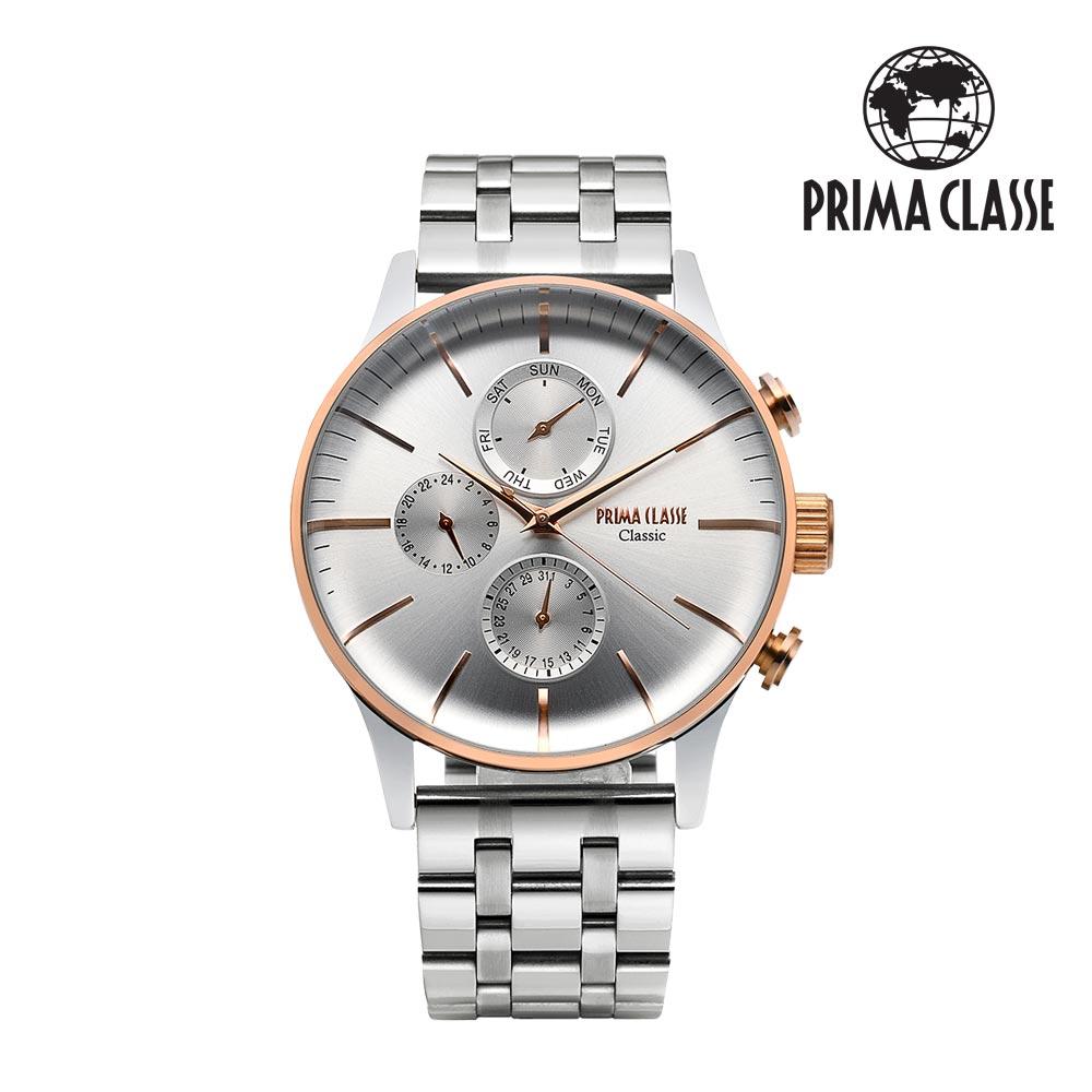 [프리마 클라쎄 PRIMA CLASSE] PCM19030M_CR 로즈콤비 남성용 가죽시계 42.5mmx50.5mm 타임메카