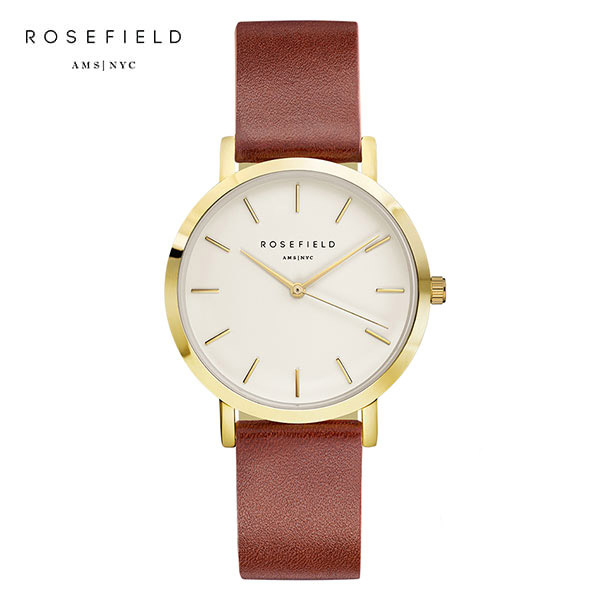 [로제필드 ROSEFIELD] GWBRG-G34 The Gramercy White Brown Gold 여성 손목시계 38mm