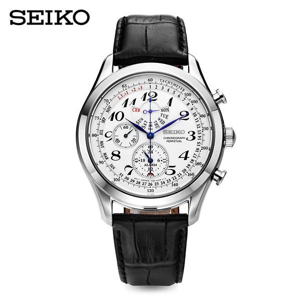 ☆-) [세이코 SEIKO] SPC131P1 / 43mm 크로노그래프 퍼페츄얼 가죽시계
