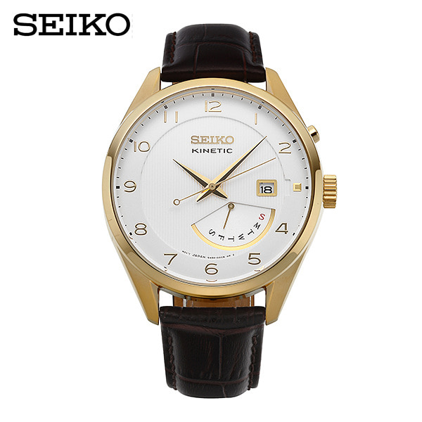 [세이코 SEIKO] SRN052P1 / 키네틱 남성 가죽시계 42mm