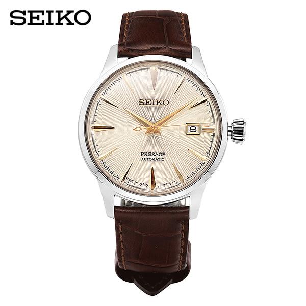 [세이코 SEIKO] SRPC99J1 / 프레사지 Presage 칵테일 샴페인 오토매틱 남성용 가죽시계 40mm 타임메카