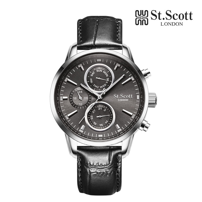 [세인트스코트 ST.SCOTT] ST2102L-SGB 남성용 발칸 멀티 가죽시계 43mm 타임메카