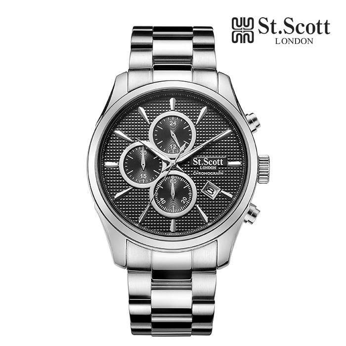 [세인트스코트 ST.SCOTT] ST3054-SBS 크로노그래프 남성 메탈시계 42mm 타임메카