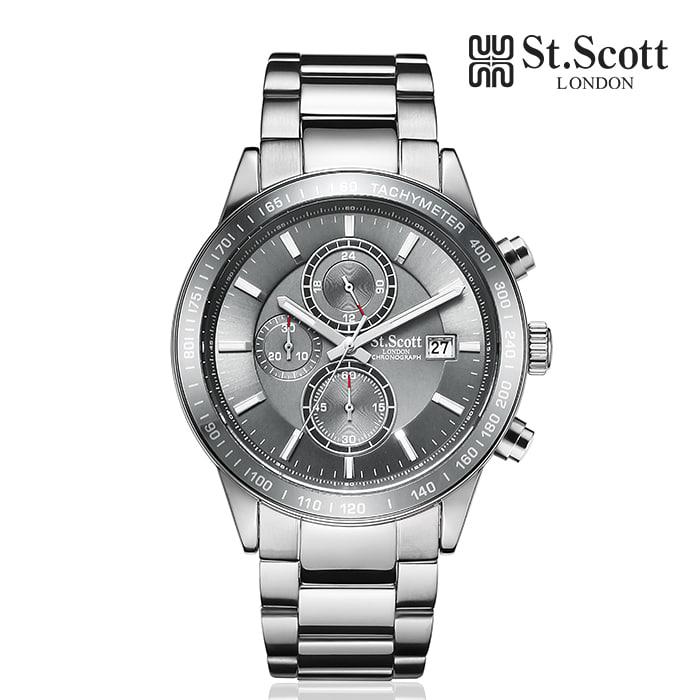[세인트스코트 ST.SCOTT] ST3055-SGS 크로노그래프 남성 메탈시계 43mm 타임메카