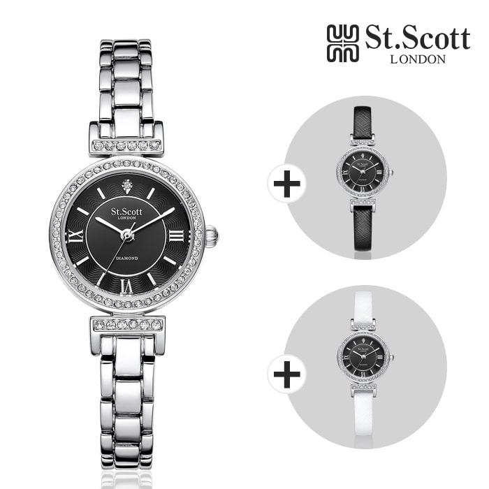[세인트스코트 ST.SCOTT] ST3201SBS 에일린 다이아몬드 여성용 메탈시계 가죽밴드 2종 추가증정 23mm 타임메카