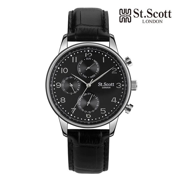 [세인트스코트 ST.SCOTT] ST5102L-SBB 남성용 가죽시계 42mm