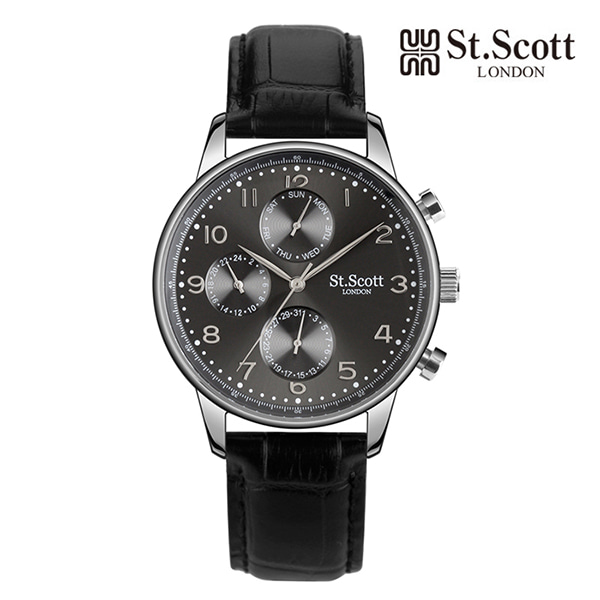 [세인트스코트 ST.SCOTT] ST5102L-SGB 남성용 가죽시계 42mm