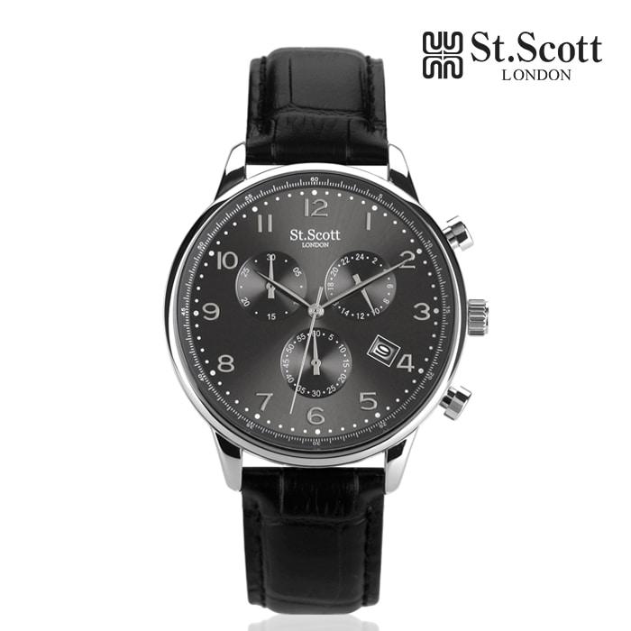 [세인트스코트 ST.SCOTT] ST5109L-SGB 크로노그래프 남성용 가죽시계 43mm 타임메카