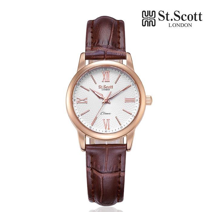 [세인트스코트 ST.SCOTT] ST7108F-RSC 더클래식 커플 시계 여성용 가죽시계 41mm 타임메카