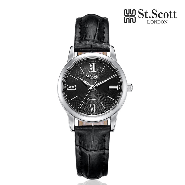 [세인트스코트 ST.SCOTT] ST7108F-SBB 더클래식 커플 시계 여성용 가죽시계 41mm 타임메카