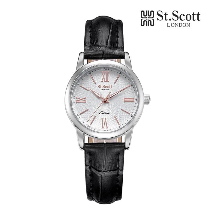 [세인트스코트 ST.SCOTT] ST7108F-SSB 더클래식 커플 시계 여성용 가죽시계 41mm 타임메카