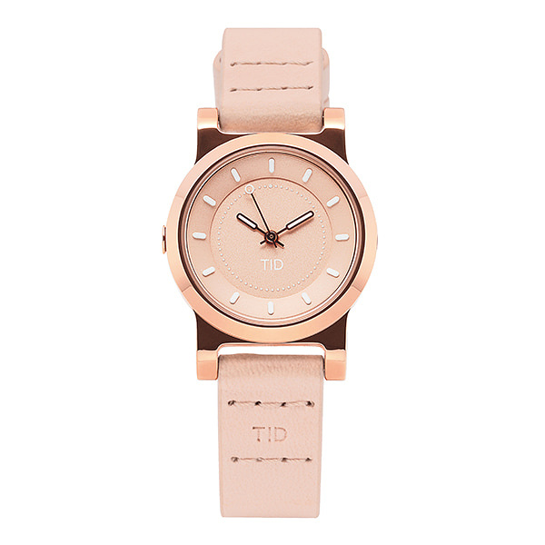 [티아이디 TID] 40202131 / No.4 Rose Gold / Champagne Leather Wristband 여성용 가죽시계 28mm 타임메카
