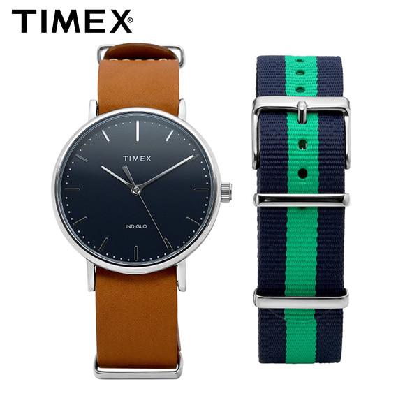 [타이맥스시계 TIMEX] TWG016300 / Fairfield Gift Set 페어필드 기프트 세트 나토밴드 가죽시계 41mm