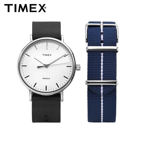 [타이맥스시계 TIMEX] TWG016400 / Fairfield Gift Set 페어필드 기프트 세트 나토밴드 가죽시계 41mm