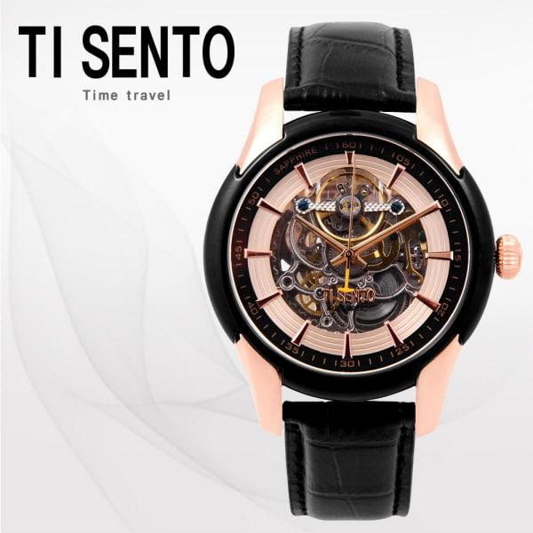 [티센토 TISENTO] TS60011BROBK /티센토 스켈레톤 오토매틱 블랙가죽시계