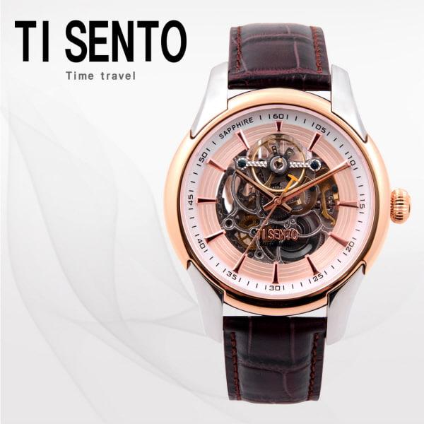 [티센토 TISENTO] TS60011ROCH /티센토 스켈레톤 오토매틱 브라운가죽시계