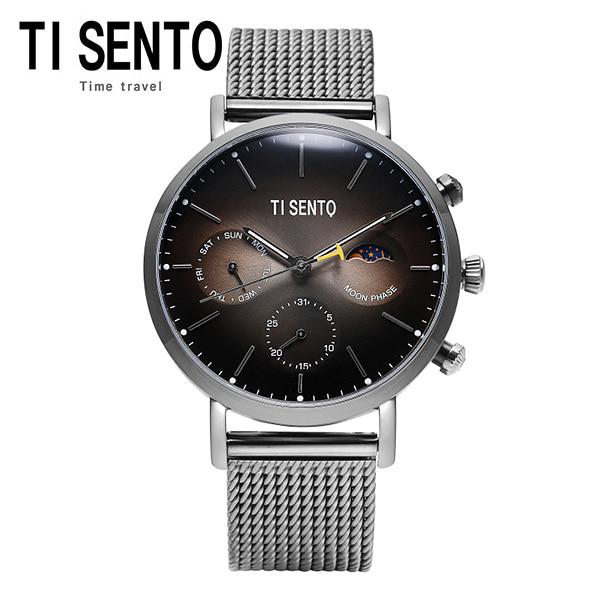 [티센토 TISENTO] TS60051GY 문페이즈 멀티펑션 남성 메쉬밴드시계 타임메카 42mm