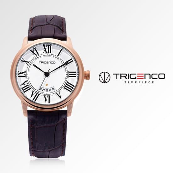[트리젠코시계 TRIGENCO] TG-0100-RG 아날로그 남성용 가죽시계 43mm