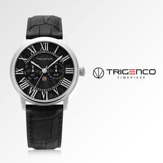 [트리젠코시계 TRIGENCO] TG-0100M-BK 문페이즈 남성용 가죽시계 43mm