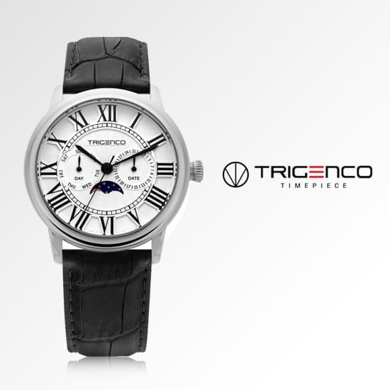 [트리젠코시계 TRIGENCO] TG-0100M-WH 문페이즈 남성용 가죽시계 43mm