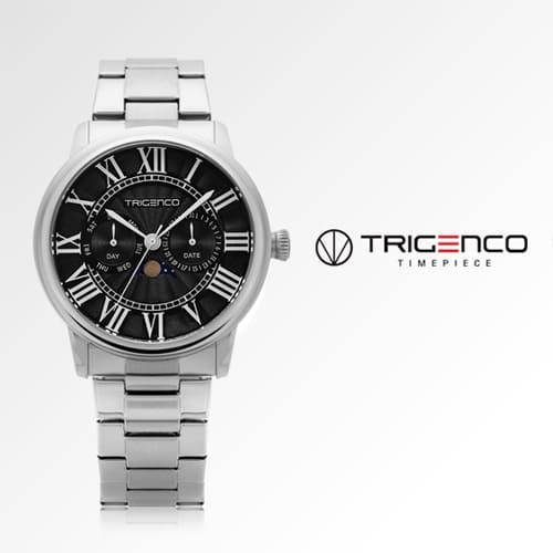 [트리젠코시계 TRIGENCO] TG-0101M-BK 문페이즈 남성용 메탈시계 43mm