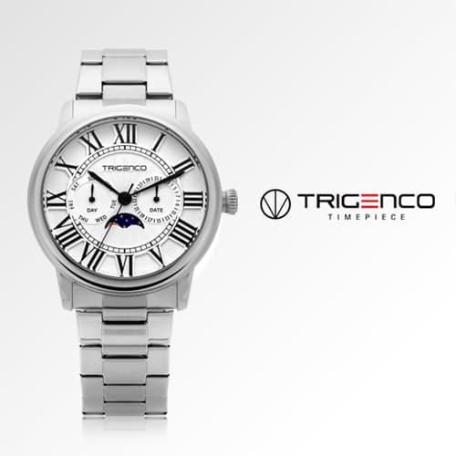 [트리젠코시계 TRIGENCO] TG-0101M-WH 문페이즈 남성용 메탈시계 43mm