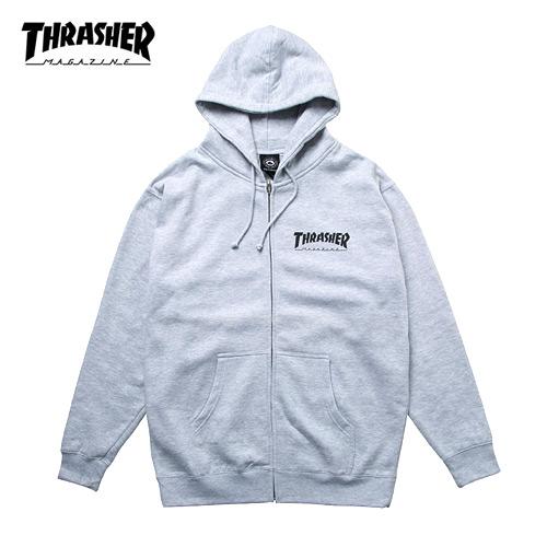 [트래셔 Thrasher] 314128-GRY 집업후드 Thrasher Logo Zip Hood