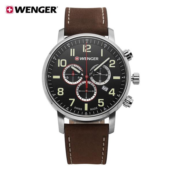 [웽거 WENGER] 01.1543.103 스위스 정식수입 본사정품 가죽 시계 44mm