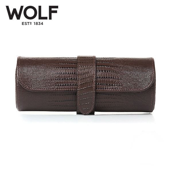 [울프 WOLF] 305695 (Blake Watch Roll Brown Lizard) / 시계보관함 Watch Cubbyhole