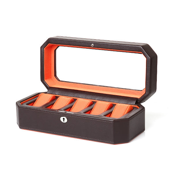 [울프 WOLF] 458306 (Windsor 5pc Watch Box Brw/Org) / 시계보관함 Watch Cubbyhole