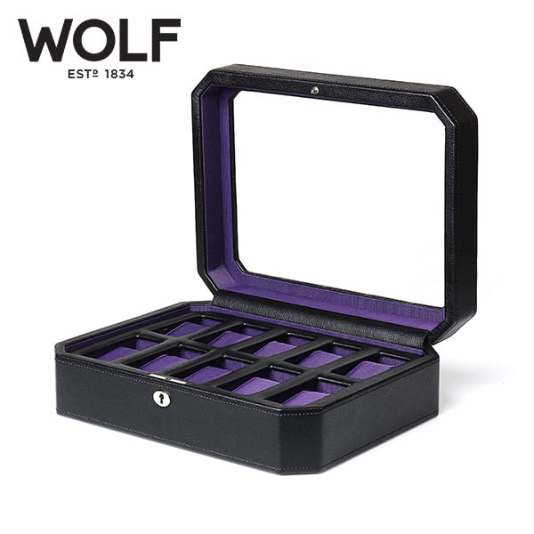 [울프 WOLF] 458403 (Windsor 10pc Watch Box Blk/Pur) / 시계보관함 Watch Cubbyhole